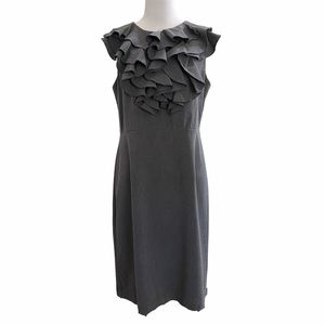 Soho Apparel LTD Charcoal Grey Ruffle Front Dress